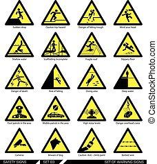 sicherheit, satz, achtung, signs.
