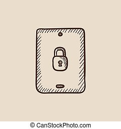 sicherheit, tablette, icon., skizze, digital