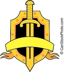 sicherheit, vektor, emblem