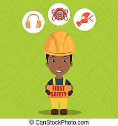 sicherheit zuerst, arbeiter, ikone