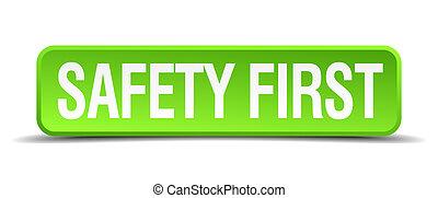 sicherheit zuerst, grün, 3d, realistisch, quadrat, freigestellt, taste
