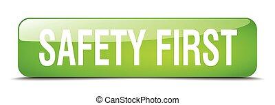 sicherheit zuerst, grün, quadrat, 3d, realistisch, freigestellt, web, taste