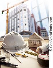 sicherheitshelm, blauer druck, plan, und, konstruktionsausrüstung, auf, bogen