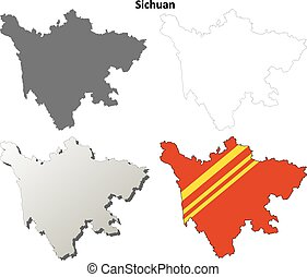 Sichuan blank outline map set - Sichuan province blank...