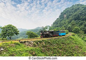sichuan, estrecho, calibrador, ferrocarril, province.