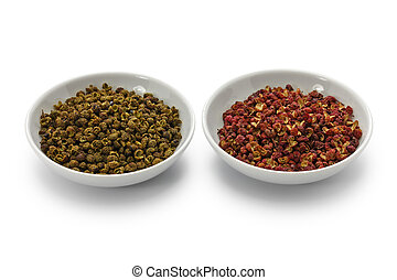 sichuan, grün rot, pfeffer