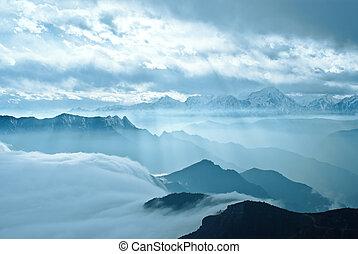 sichuan, montanha, quedas, ocidental, boiada, china, nuvem