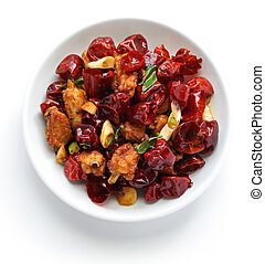 sichuan, pfeffer, huhn, chili