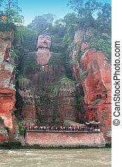 sichuan, riesig, leshan, porzellan, buddha