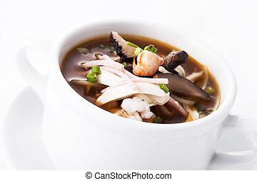 Sichuan sour soup serve in white bowl