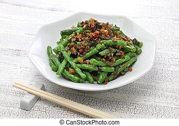 sichuan, trocken, gebraten, schnittbohnen