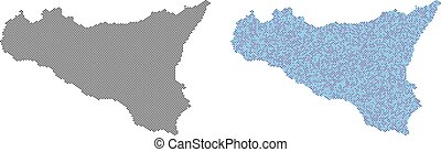 sicilia, carte, point, abstractions