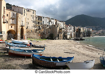 Sicilia - Cefalu, Sicily island in Italy. Harbor view of...