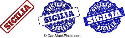 SICILIA Grunge Stamp Seals - SICILIA grunge stamp seals in...