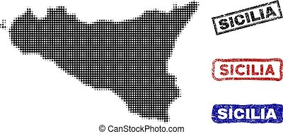 Sicilia Island Map in Halftone Dot Style with Grunge Title...
