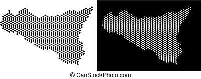 Sicilia Map Hex-Tile Abstraction - Hex-Tile Sicilia map....