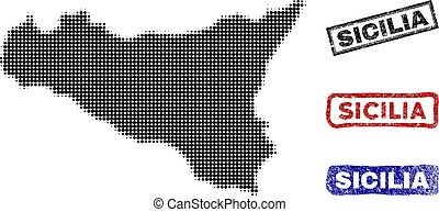 Sicilia Map in Halftone Dot Style with Grunge Title Stamps -...