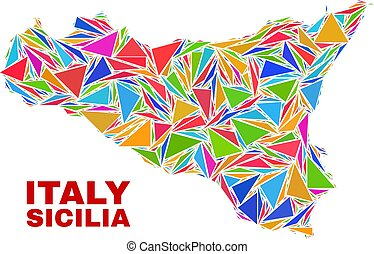 Sicilia Map - Mosaic of Color Triangles - Mosaic Sicilia map...