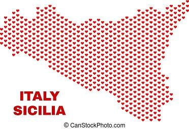Sicilia Map - Mosaic of Heart Hearts - Mosaic Sicilia map of...