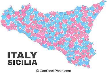 Sicilia Map - Mosaic of Valentine Hearts - Mosaic Sicilia...