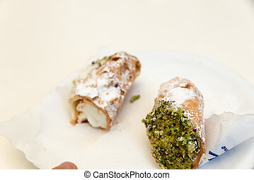 Sicilian cannoles with candied fruit
