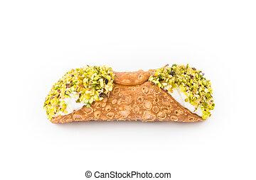 Sicilian cannoli with pistachio