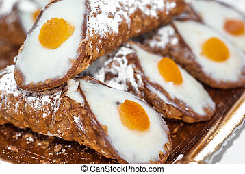 Sicilian cannoli with ricotta and candied orange