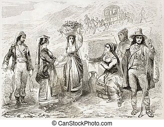 Sicilian costumes old illustration. Created by Rouargue, ...