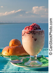 Sicilian freshness - Glass of sicilian granita and a typical...
