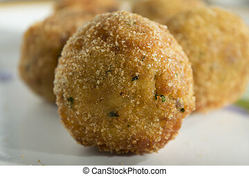 sicilian fried arancina - fried sicilian arancina a...