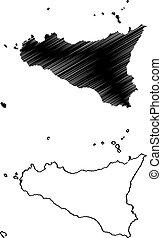 Sicily island map vector illustration, scribble sketch...