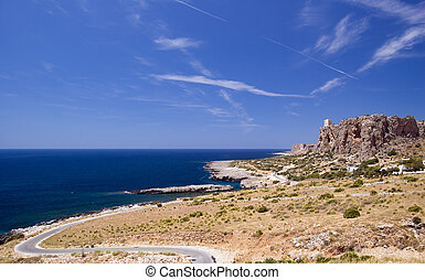 A view of the Golfo di Makari with Mediterranean Sea; San Vito Lo Capo, Sicily, Italy