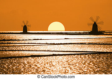 Sicily - Old windmills and the sunset in the saltworks of...
