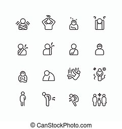 sick and symptoms injuries silhouette icons flat line design set