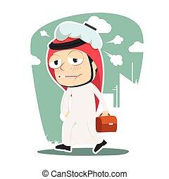 Sick arabian businessman going to work