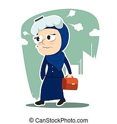 Sick arabian businesswoman going to work