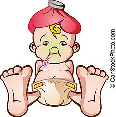 Sick Baby Cartoon Character - A cartoon baby with the flu or...