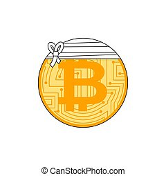 Sick bitcoin. Cryptocurrency bandaged. Concept BTC market...