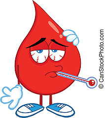 Sick Blood Drop With Thermometer - Sick Blood Drop Cartoon...