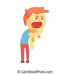 Sick boy character coughing with fist in front of his mouth cartoon vector illustration