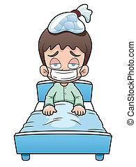 Sick boy - Vector illustration of sick boy cartoon