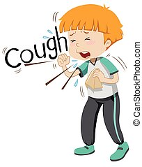 Sick boy coughing hard illustration