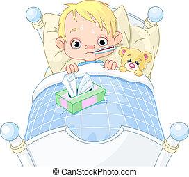 Sick Boy  - Cartoon illustration of cute sick boy in bed