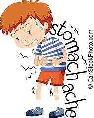 Sick boy having stomachache illustration