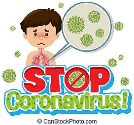 Sick boy with coronavirus