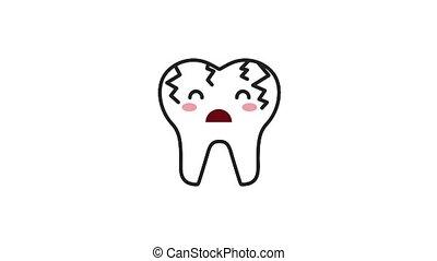 sick broken cartoon tooth character hygiene dental animation...