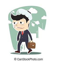 sick businessman going to work