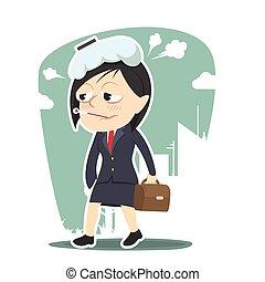 sick businesswoman going to work