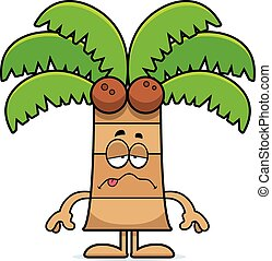 Sick Cartoon Palm Tree - A cartoon illustration of a palm ...