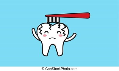 sick cartoon tooth brushing hygiene dental animation hd